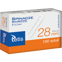 Spinacze biurowe 28mm 100szt. GS140-B TETIS
