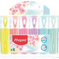 Zakreślacz fluo peps pastel mix kolor. 6 szt etui pud. z zaw 742558 MAPED