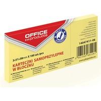 Bloczek samoprzylepny OFFICE PRODUCTS, 38x51mm, 1x100 kart., pastel, jasnożółty